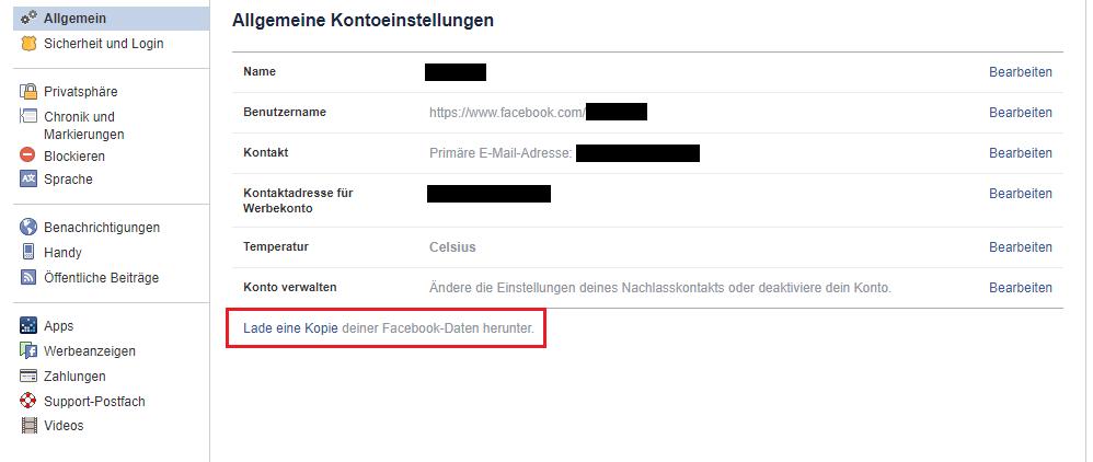 Facebook Daten speichern