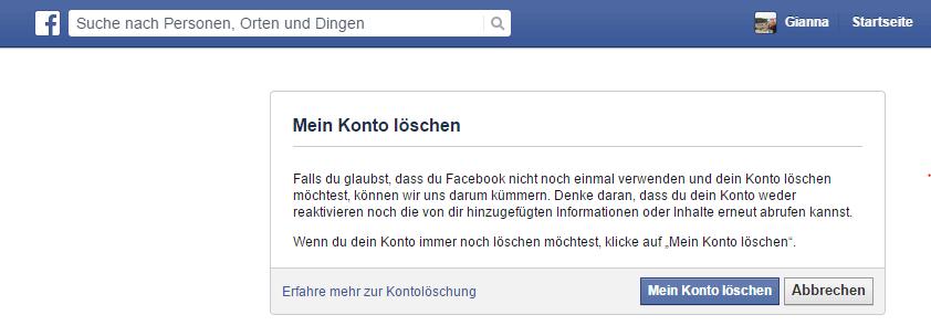 Facebook Konto löschen - Bestätigung