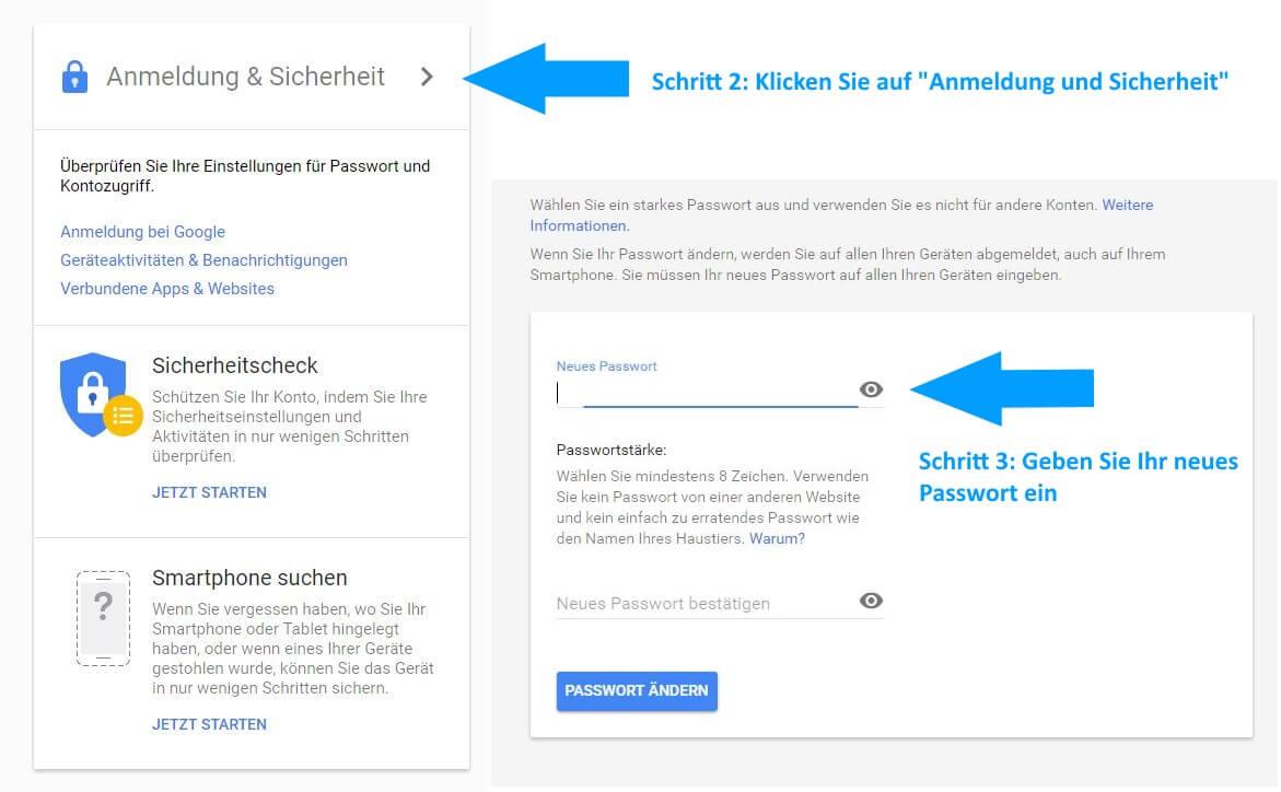 Schritte zum Google Passwort ändern