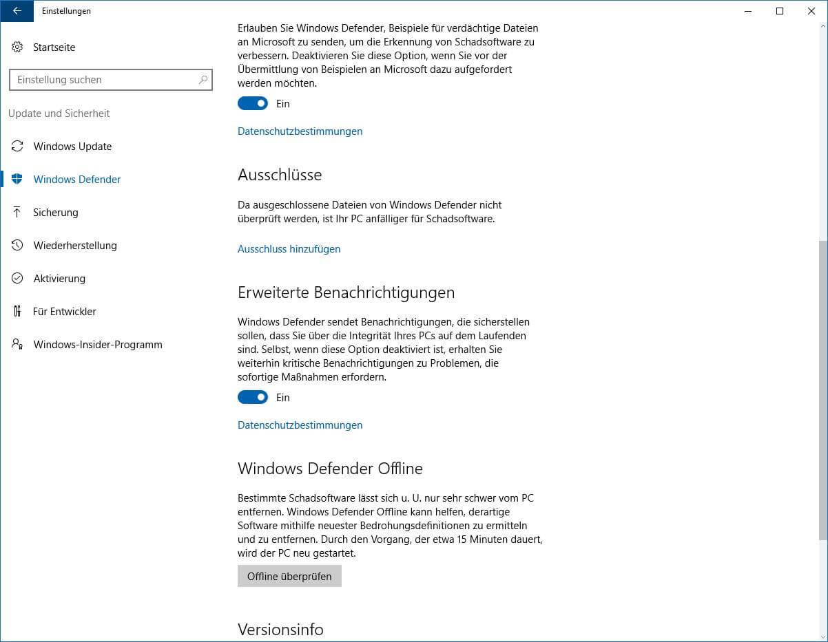 Windows Defender Offline über das Einstellungen-Menü starten