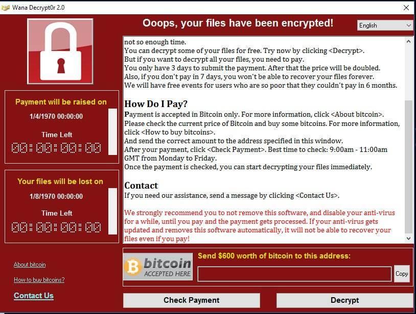 Wannacry Ransomware - Sperrbildschirm