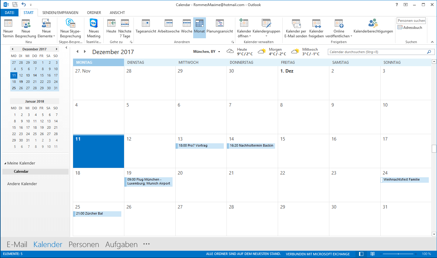 Kalender in Microsoft Outlook