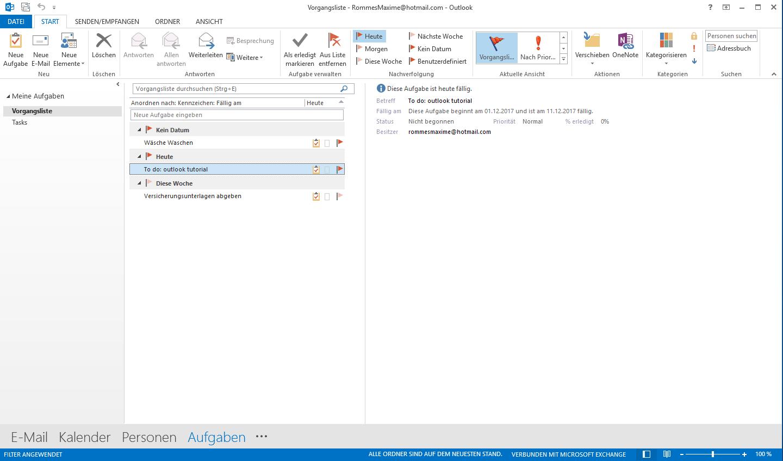 Aufgaben-Fenster in Outlook