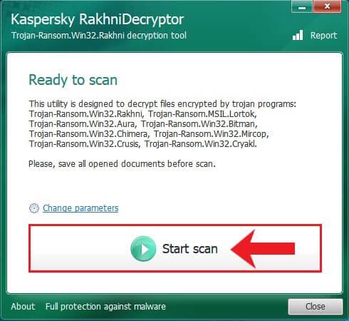 Rakhni Decryption Hauptmenü