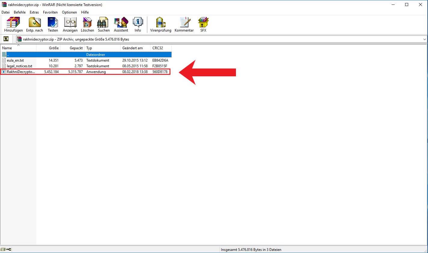 Zip Datei von Rakhni Decryption