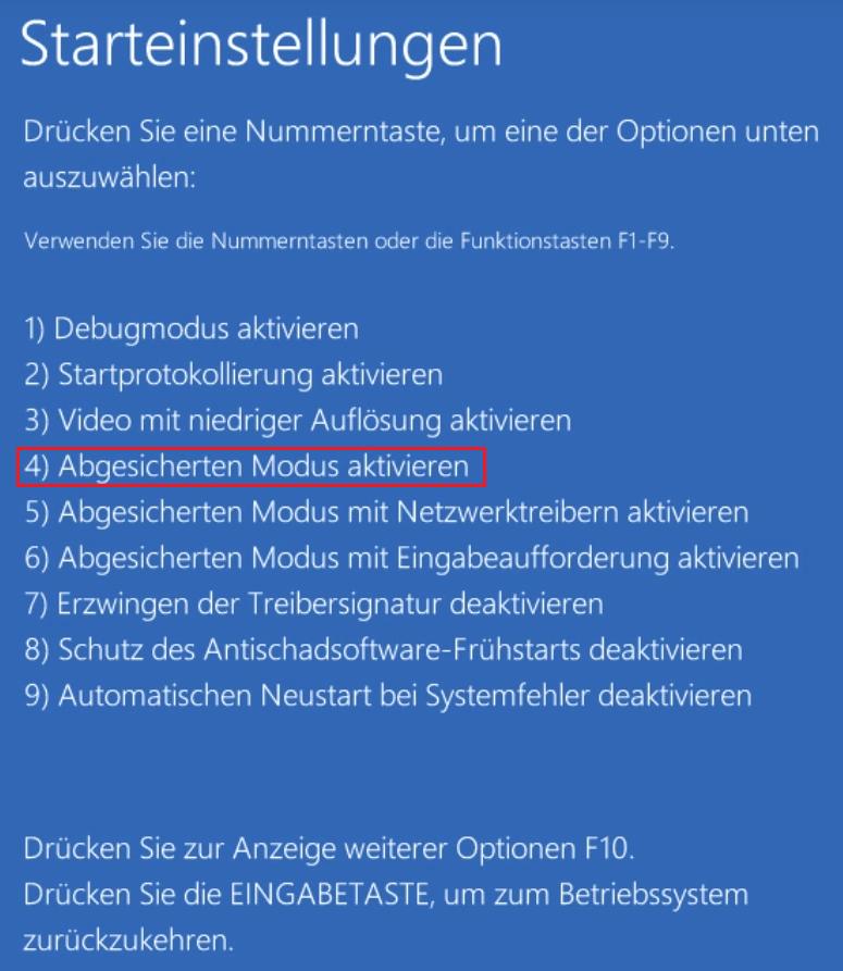 Windows im abgesicherten Modus starten Starteinstellungen