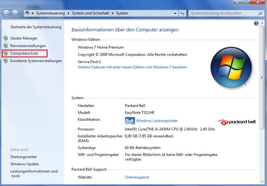Computerschutz Systemwiederherstellung