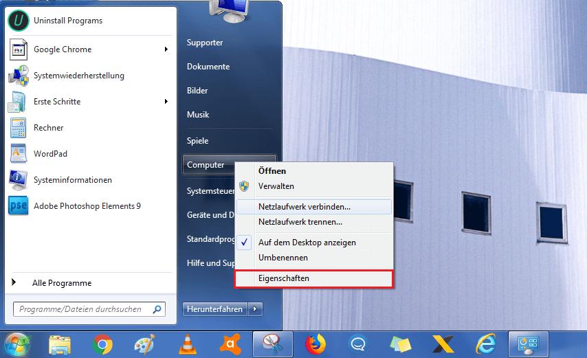 Systemwiederherstellung Computersicherheit aufrufen