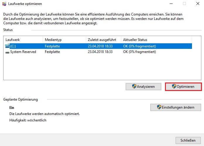 Windows 10 defragmentieren