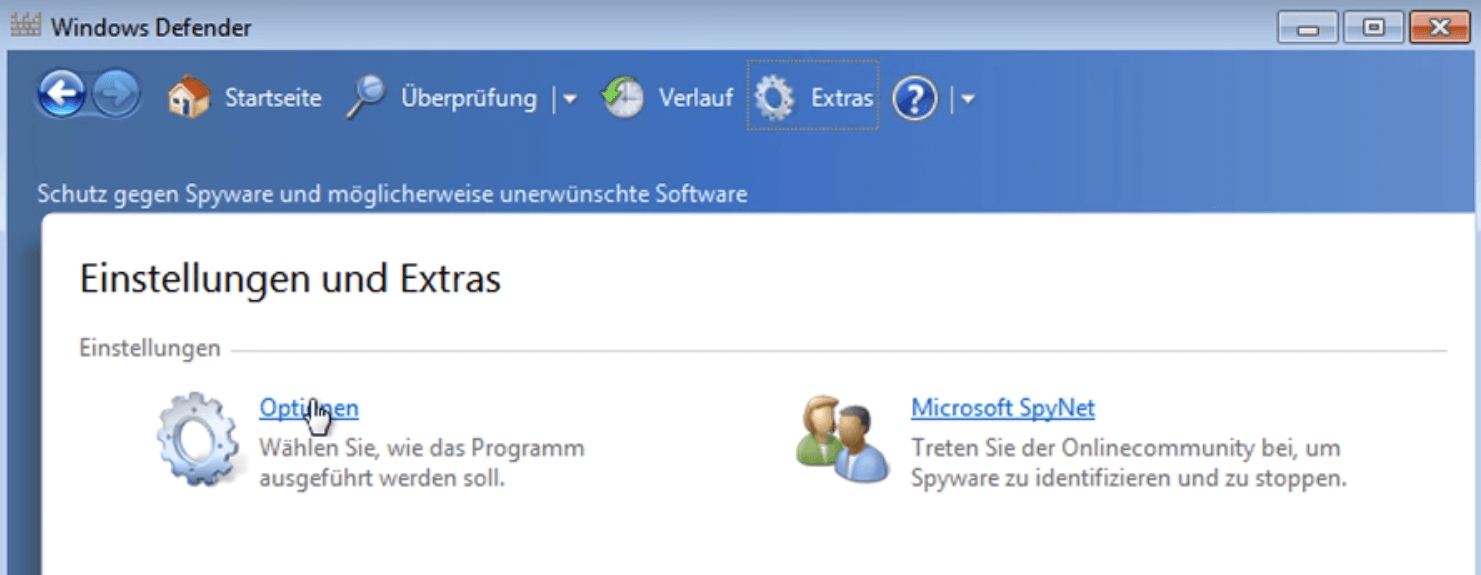 windows 7 optionen