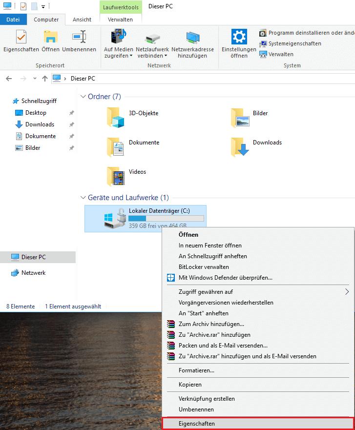 Windows 10 defragmentieren Eigenschaften