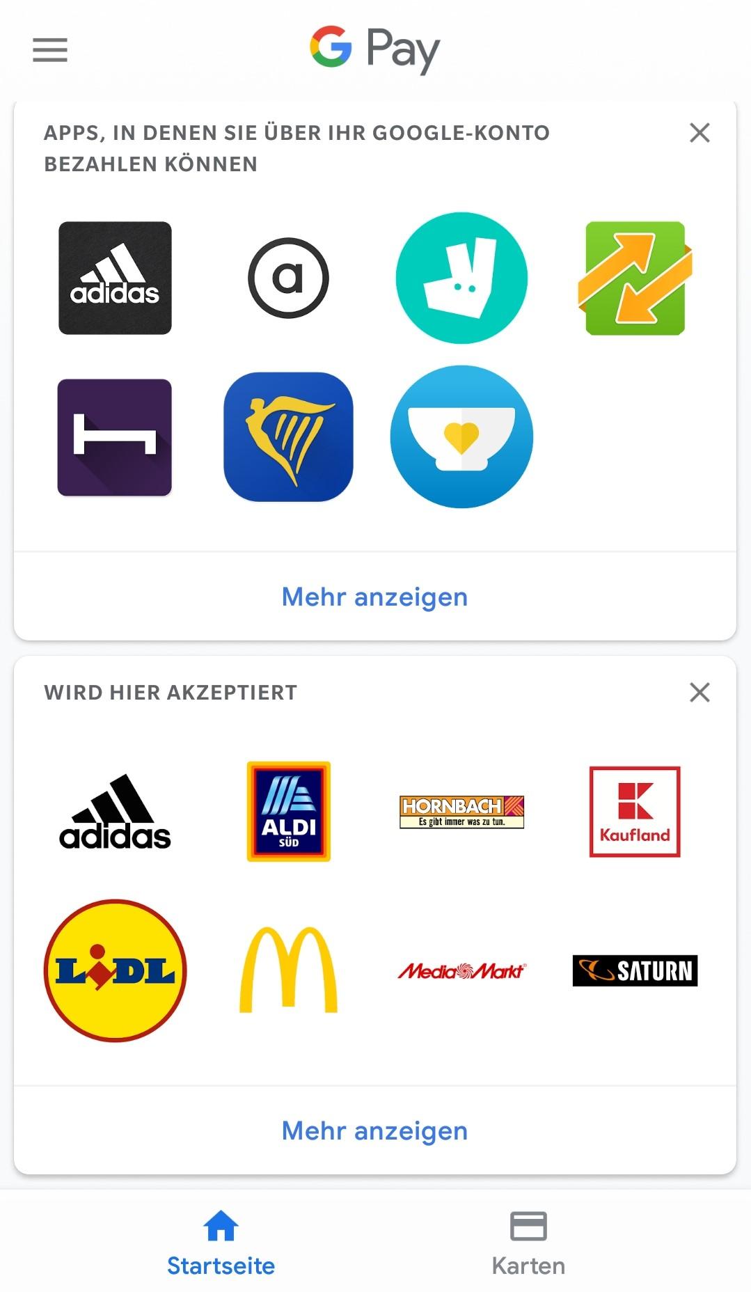 Google Pay einrichten: teilnehmende Geschäfte