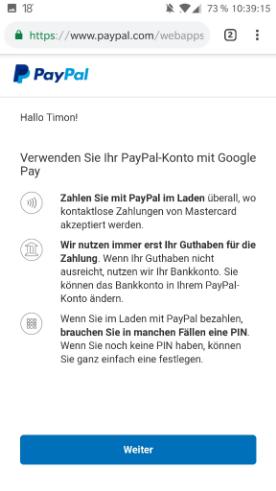 Google Pay -PayPal einrichten - Hinweise von PayPal