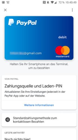 Google Pay -PayPal einrichten - Einrichtung abgeschlossen