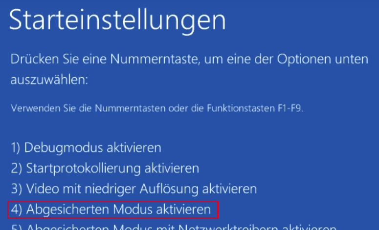 Abgesicherter Modus in Windows 10 Starteinstellungen