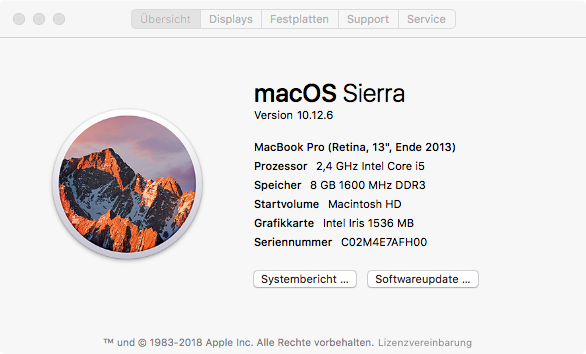 Mac OS Version herausfinden