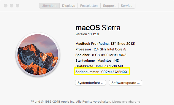 Mac Seriennummer Anzeige