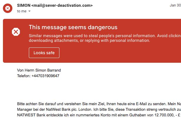 Spam Mail im Namen von Simon Barrand