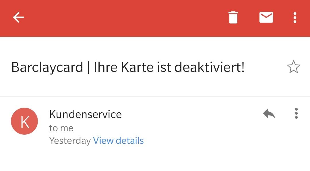 Spam-Meldung Barclaycard