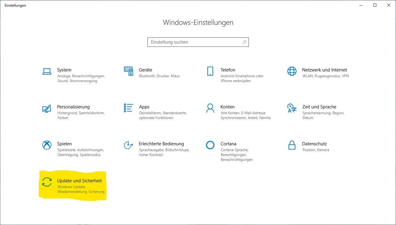 Windows 10 zurücksetzen: Einstellungen