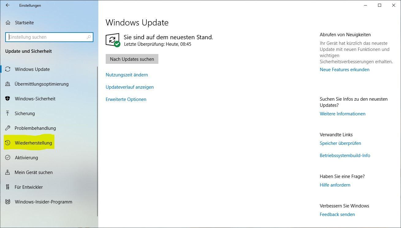 Windows 10 zurücksetzen: Update und Sicherheit