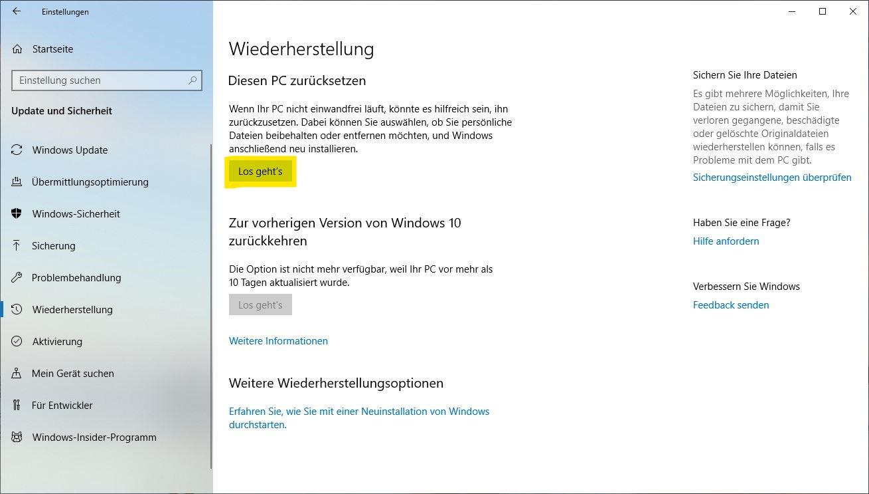 Windows 10 zurücksetzen: Wiederherstellung