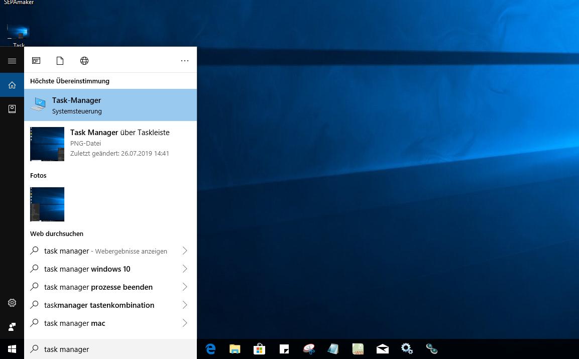 Task-Manager via Windows Suche öffnen