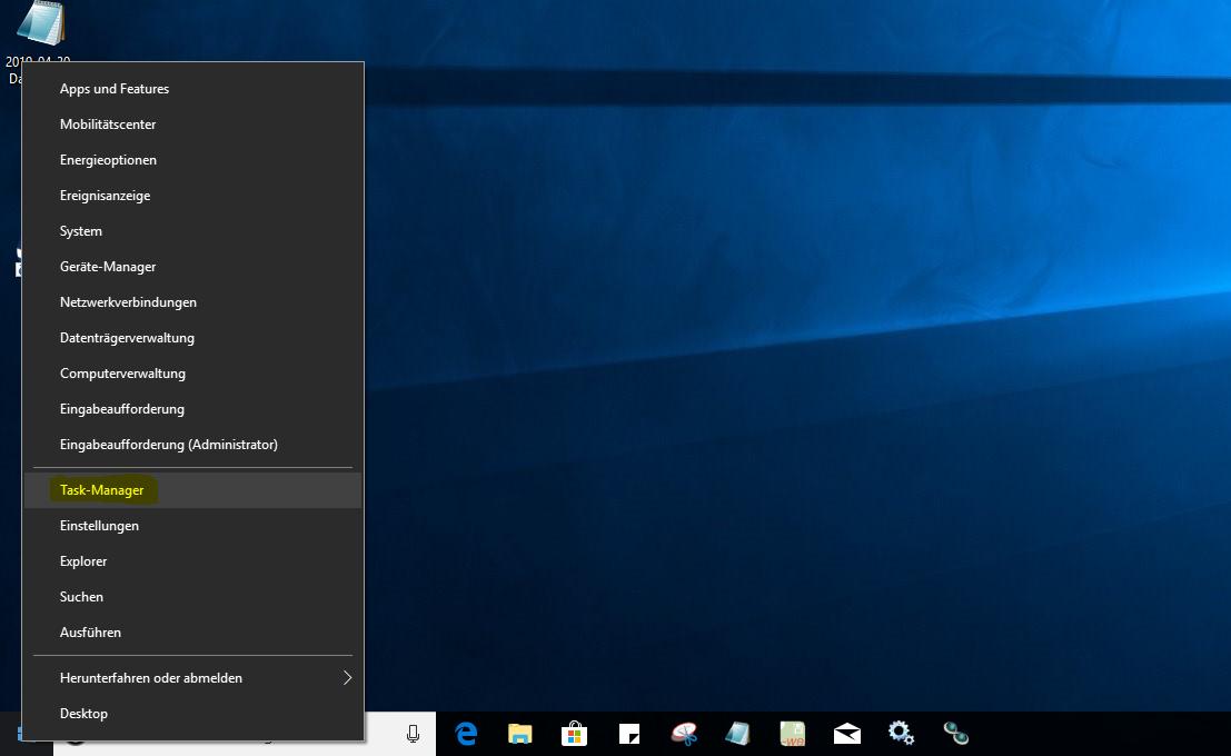 Rechtsklick auf Windows-Logo