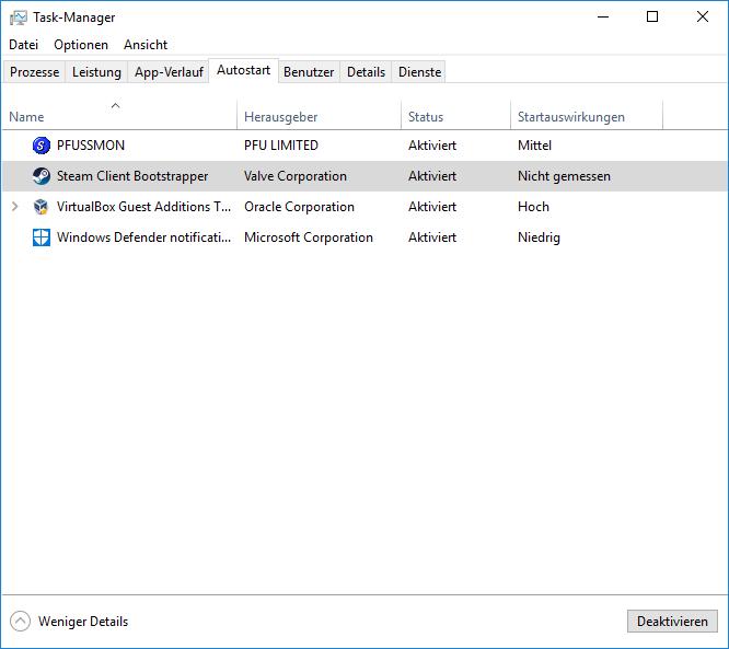 Autostart-Menü im Task Manager